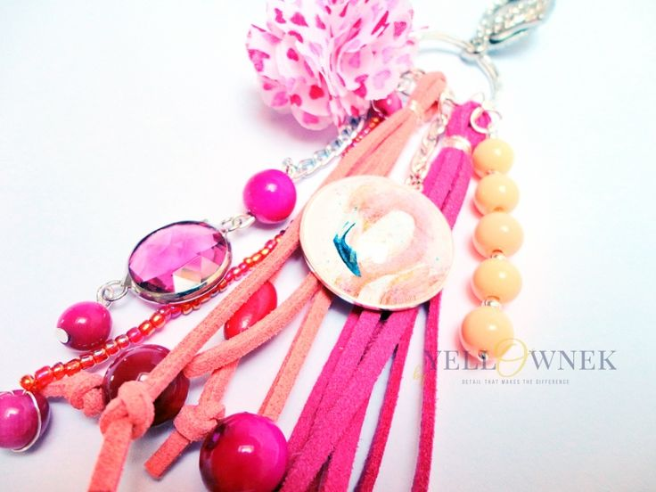 FLAMINGO FEVER Handmade bag charm/keyring. Mix of leather, glass cabochon, chains glass/ceramic/wood/plastic beads and satin ribbon.