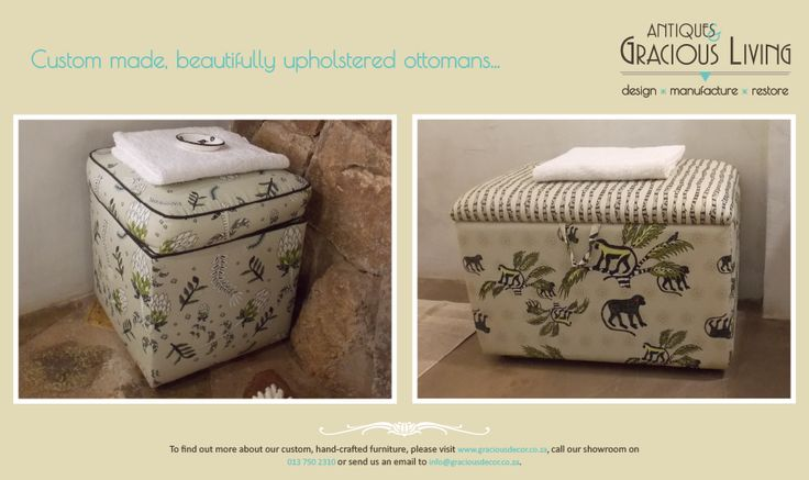 Stunning upholstered ottomans with luxurious fabric inspired by Ardmore Ceramics
