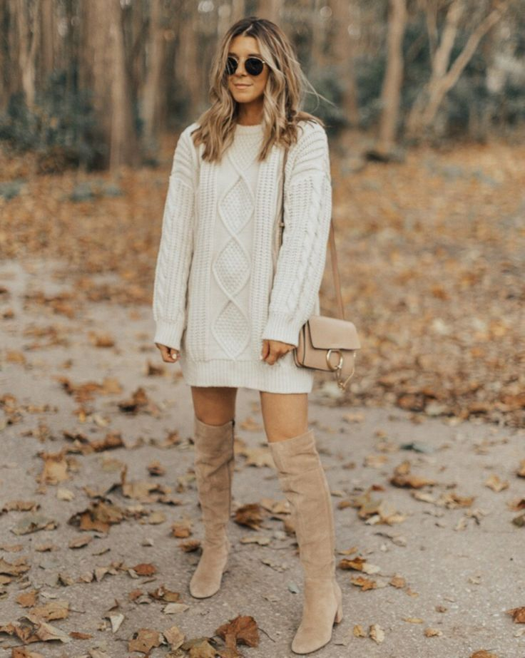 sweater dress, cream sweater dress, sweater dress style, styling sweater dress, styling sweaters, over the knee boots, over the knee boots outfit, fall style, fall fashion, fall street style, fall style 2017