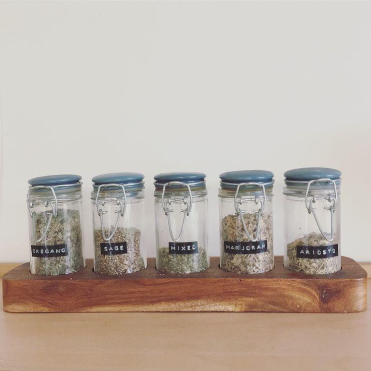 yorkiestyles - Dymo labelled herb jars
