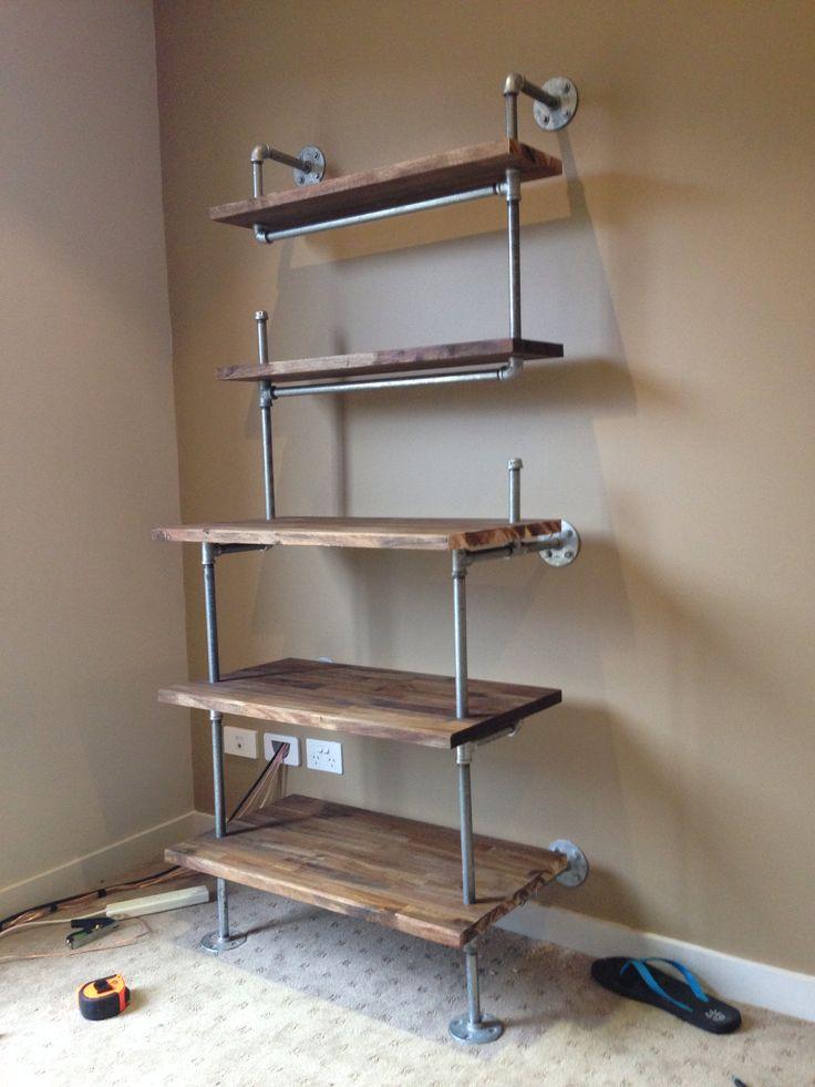 Galvanised pipe shelves