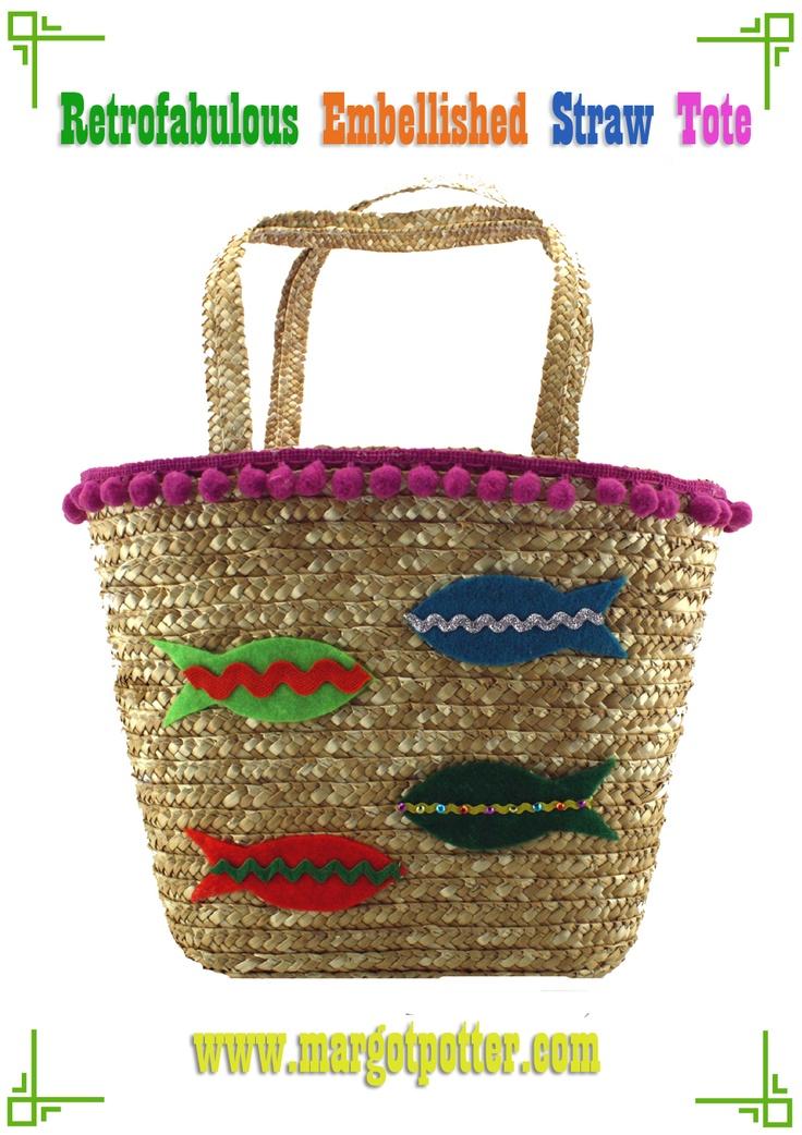 iLoveToCreate Blog: iLoveToCreate Retrofabulous Embellished Straw Tote