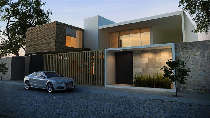 Fachada render casas pinterest fachadas for Render casa minimalista