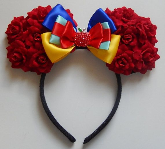 Minnie Mouse Rose Ears Snow White #PinupParade #DapperDays Hey, I found this really awesome Etsy listing at https://www.etsy.com/listing/234645230/inspired-snow-white-rose-mouse-ears