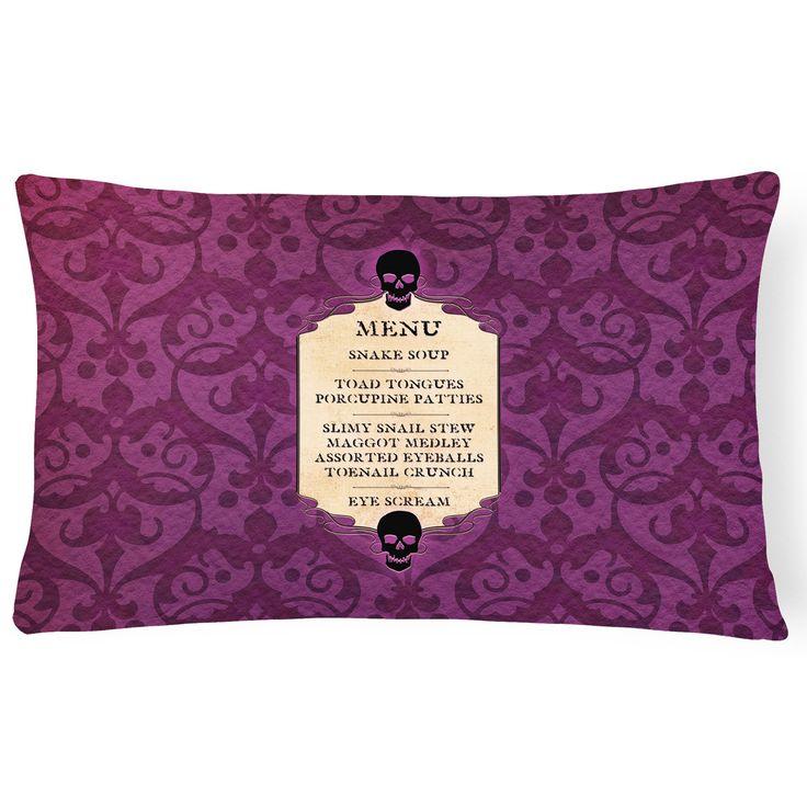 Caroline's Treasures Ghoulish Menu Including Eye Screen Snake Soup Halloween Decorative Outdoor Pillow - SB3005PW1216