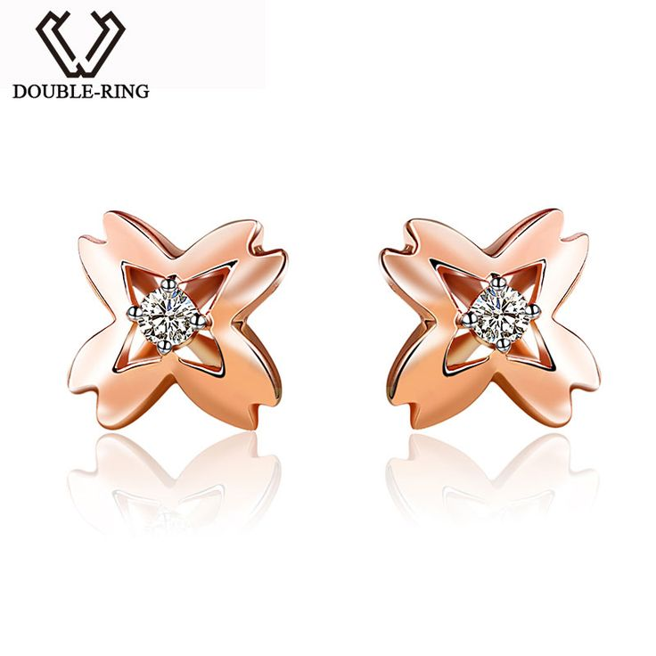 >> Click to Buy << DOUBLE-RING Fine Jewelry Bijouterie 18K gold Romantic Real Diamond Ladies Bridal Wedding Love Gift Earrings For Women CAE00596C #Affiliate