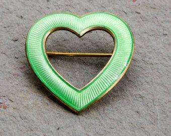 Aksel Holmsen Sterling Heart Green Guilloche Enamel Brooch