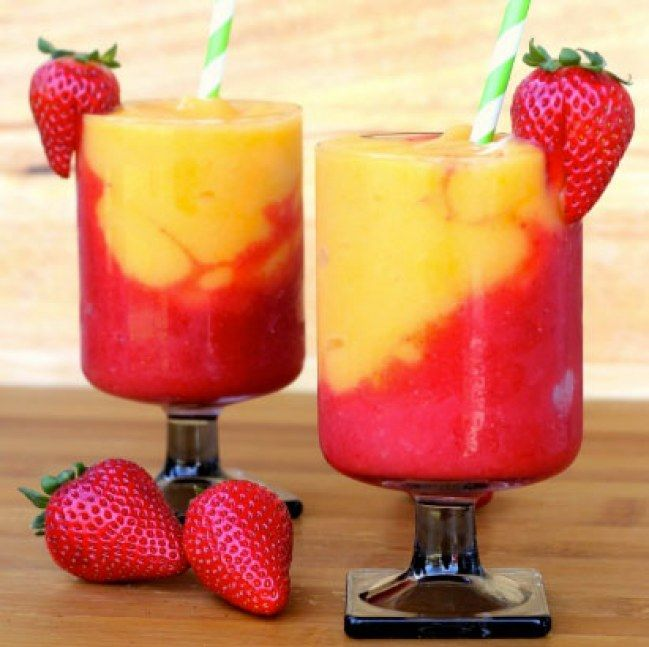 Strawberry And Peach Wine Slush. We're totally obsessed with this grown up slush puppie, and let's be honest, is there really anything better than a fruity frozen beverage to beat the heat? For more ideas click the picture or visit www.sofeminine.co.uk