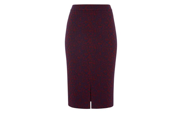 Maroon Floral Pencil Skirt - Womenswear  - Tu Clothing At Sainsbury's