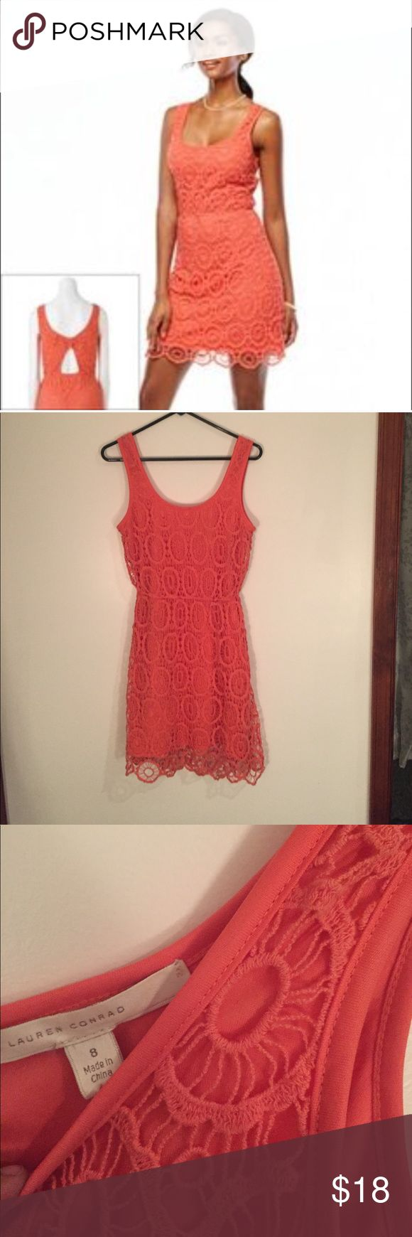 1 day sale! LC Lauren Conrad crochet lace dress 🌞 EUC LC Lauren Conrad orange lace crochet floral dress with bow cut out back, the scallop hemline is so cute! 🌞 LC Lauren Conrad Dresses