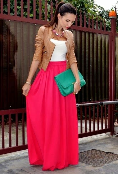 See more Maxi skirt with a form-fitting top and structured jacket