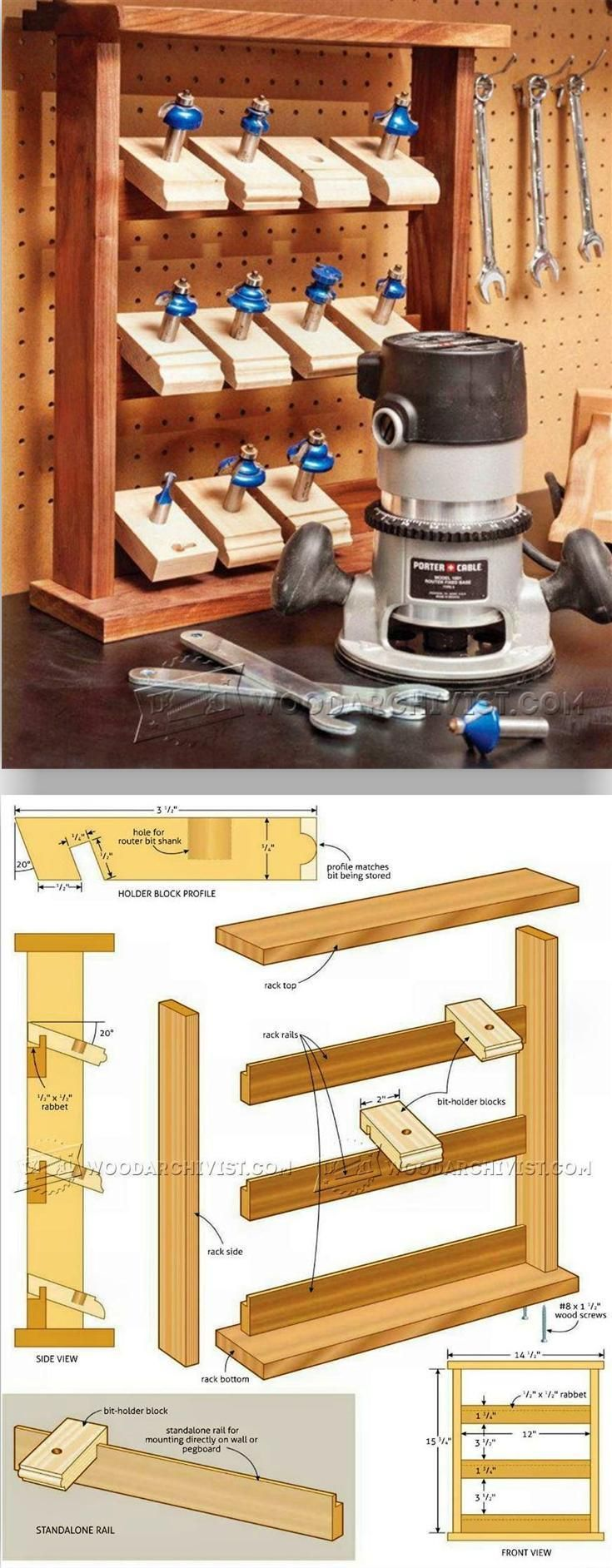 Router Bit Holder Plans - Router Tips, Jigs and Fixtures | WoodArchivist.com