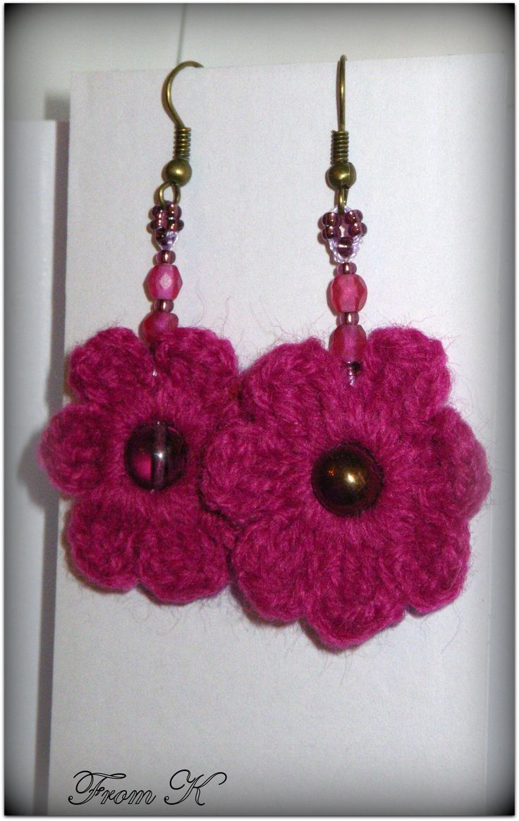 #Flower #earrings, hand #crochet with a fine acrylic thread, decorated with Czech bead crystals.  Simple, yet original, everyday wear earrings. Perfect for summer and spring. Very light.  For more visit FB page https://www.facebook.com/media/set/?set=a.561257837233852.117610562.246629745363331&type=3