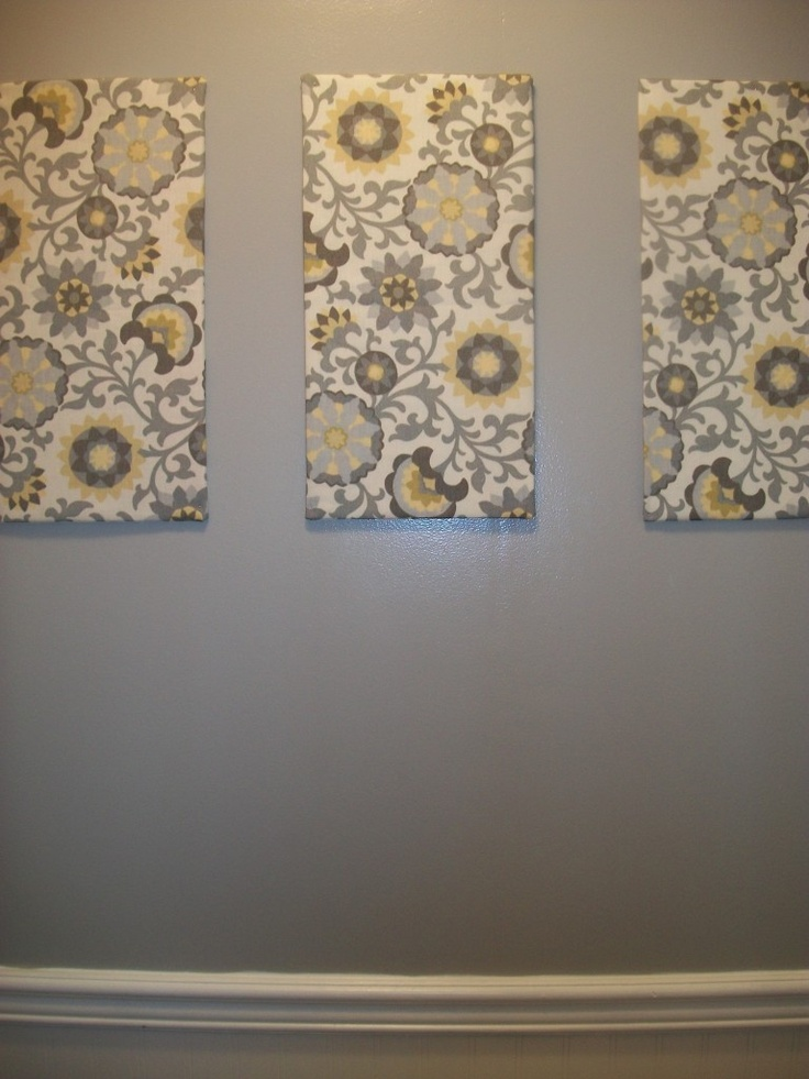 cover canvas in fabric frugal bathroom artwork