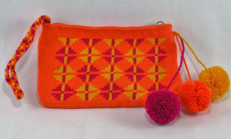 Hand-Woven Artesinal Colombian Wayuu Clutch Bag (Orange/Lemon Yellow/Process Red) - Bacano Bags and Hats