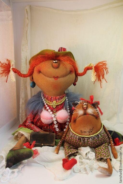 Купить Когда мамы нет дома... - разноцветный, текстильная кукла, ароматизированная кукла, интерьерная кукла, котик