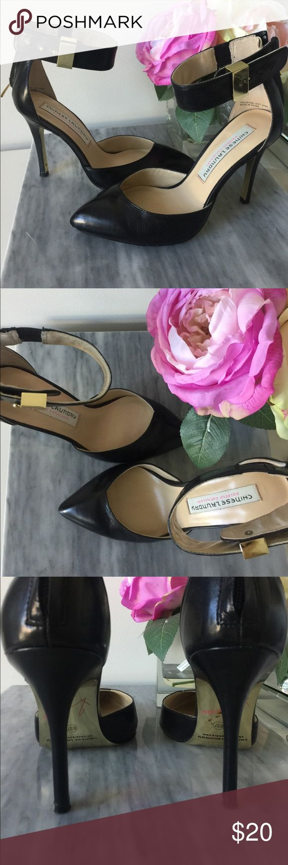 Chinese Laundry Kristin Cavallari heels 6 Size 6, worn once. Very good condition- please see photos. Wear to bottom of soles. Gold soles and gold hardware. Adjustable ankle strap and true to size. Chinese Laundry Shoes Heels