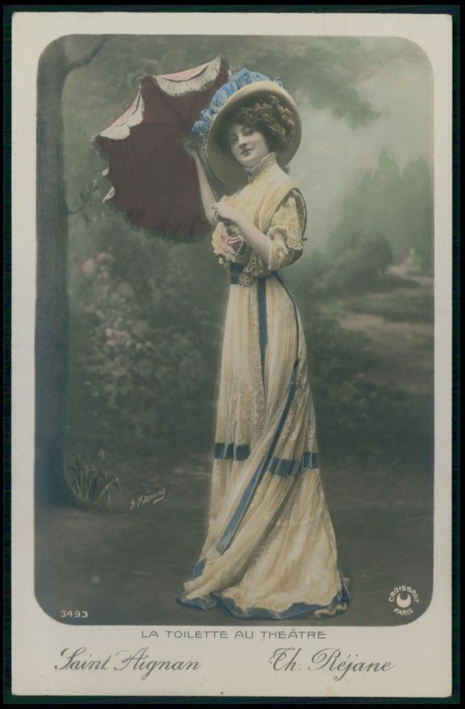 Saint Aignan Lady Rejane Edwardian Theatre Fashion dress 1910s photo postcard