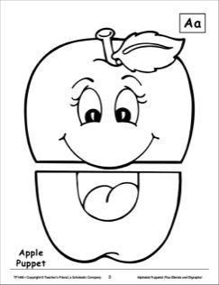 The Letter A Apple Alphabet Puppet Paper bag puppets