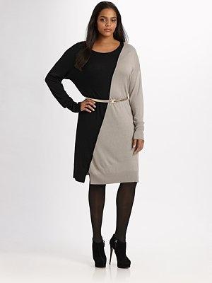 Marina Rinaldi, Salon Z  Asymmetrical-Colorblock Knit Dress