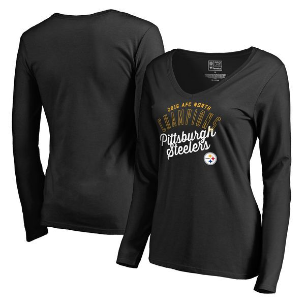Pittsburgh Steelers Pro Line by Fanatics Branded Women's 2016 AFC North Division Champions V-Neck Long Sleeve T-Shirt - Black - $23.99