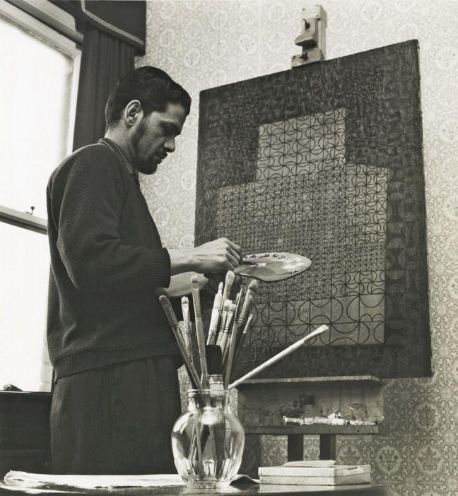 Anwar Jalal Shemza painting Magic Carpet at 9 Dericote Street, London, 1960s