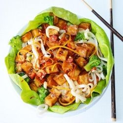 orange crispy tofu lettuce wraps