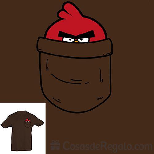 Camiseta original para niños inspirada en un conocido personaje de videojuegos móviles.  http://www.cosasderegalo.com/products/camiseta-para-ninos-bolsillo-pajarito