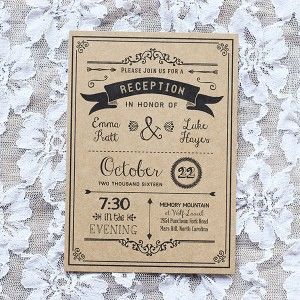 Reception Only Invitation - Multiple Color Options Available