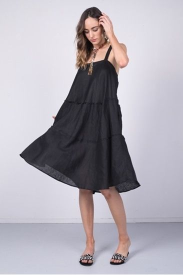 """""""Cari"""" meaning 'flows like the water', this three tiered bias cut linen dress will have you looking like the epitome of elegance. Ultra soft and knee length, this is beautifully designed for Queensland's hot humid summers."""