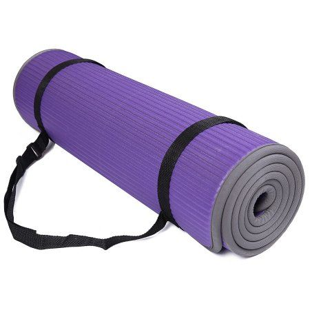 BalanceFrom GoFit All-Purpose 10mm Extra Thick High Density Anti-Slip Exercise Pilates Yoga Mat with Carrying Strap, Purple