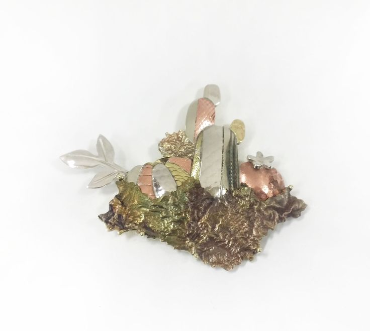 Cactus-silver/red copper/brass/nickel/reticulation/roll printing/brooch/jewelry/sulfrated potash