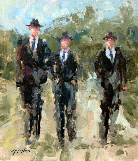 """Mennonite Boys"" By Jerry Markham 14 x 12 oil"