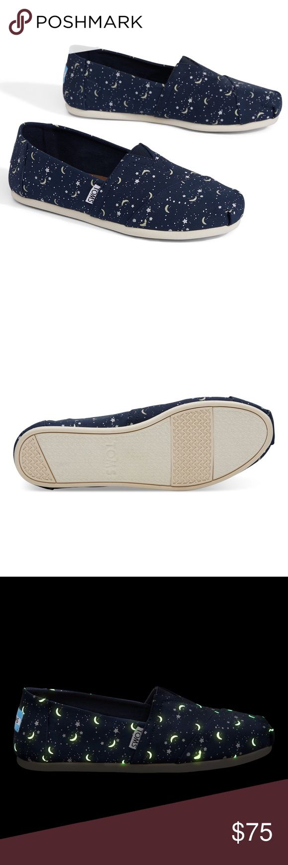 "🌙TOMS GLOW IN THE DARK MOON AND STARS WOMEN Moonwalk through your day in out-of-this-world Alpargatas that glow in the dark. Navy moon and stars printed canvas upper Classic Alpargata design Glow in the dark Vegan Elastic ""v"" for easy on/off Molded removable insole Funk-fighting cotton twill sock liner Rubber outsole for traction PRICE IS FIRM; no offers. I will keep these if they don't sell for the list price. Toms Shoes Flats & Loafers"