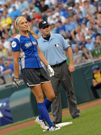 #charity: Jennie Finch, who led Team USA to a gold medal in the Summer Olympics, plays in the 2012 Taco Bell All-Star Legends & Celebrity Softball Game at Kansas City's Kauffman Stadium on Sunday, July 8, 2012