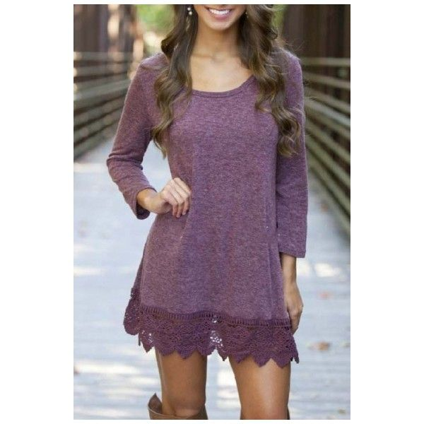 Women's Purple Long Sleeve A-line Lace Stitching Trim Casual Dress ($25) ❤ liked on Polyvore featuring dresses, long-sleeve maxi dresses, long dresses, short long dresses, a line silhouette dress and short a line dresses