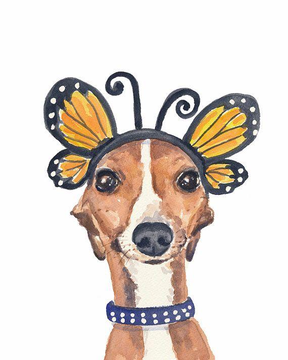 Greyhound Watercolor PRINT  5x7 Print Italian por WaterInMyPaint, $10.00