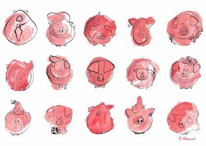 Dboon ontwerp op Kaartje2go biggen varkens grappig humor kinderkaart Uniek acryl inkt Dboon ontwerp