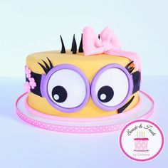 Girl minion cake inspired by a cake by @frosted_confetti #minioncake #girlminioncake #girlminion #girlycake #sweetsandtreatsbychristina #cake #instacakes