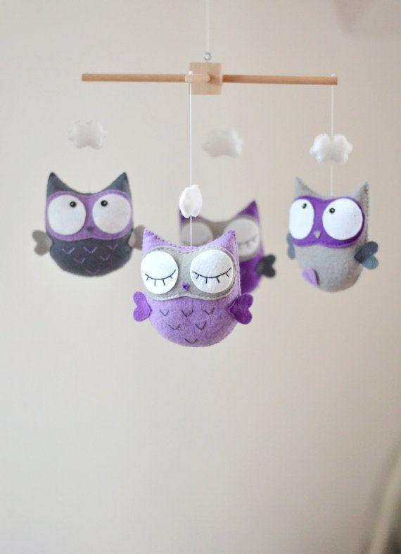 Baby mobiel, Mobile Owl, aangepaste mobiele, Decor van de kwekerij, Baby douche…