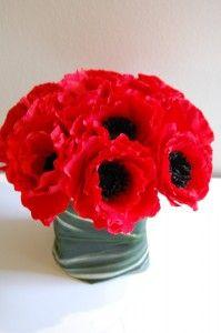 Red anemone wedding bouquets