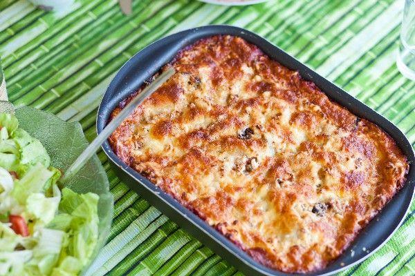 Course(s): Entrée; Ingredients: condensed cream of potato soup, frozen hash browns, ham, parmesan cheese, sharp cheddar cheese, sour cream