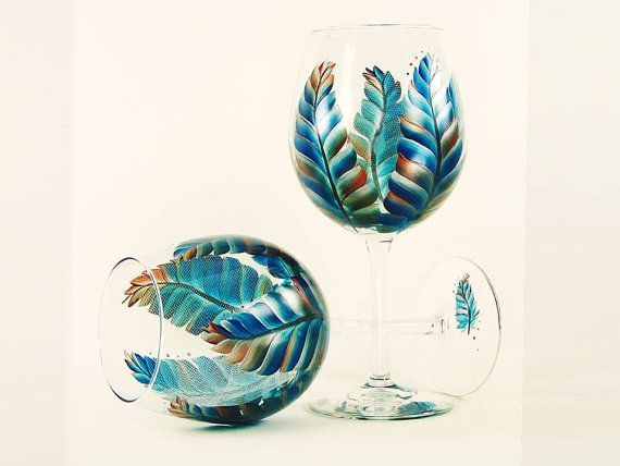Hand Painted Southwestern Wine Glasses  Turquoise and