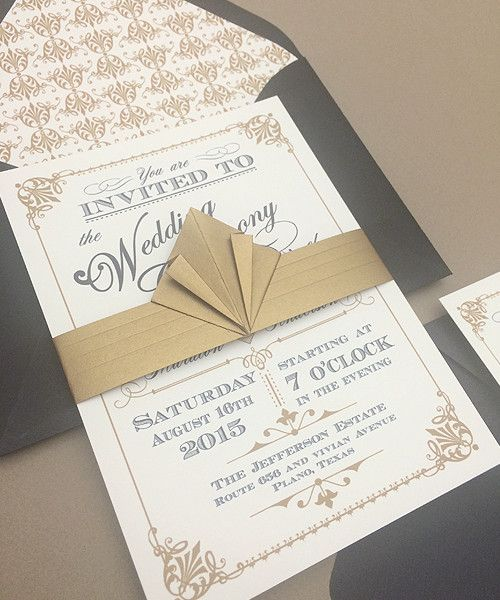 This beautiful and ornate vintage Art Deco style wedding invitation is actually a free download and print template. The designer Anna Skye is very talented and unbelievably generous with her designs. She has been sharing templates on her website Download & Print for years. My best advice, go see.
