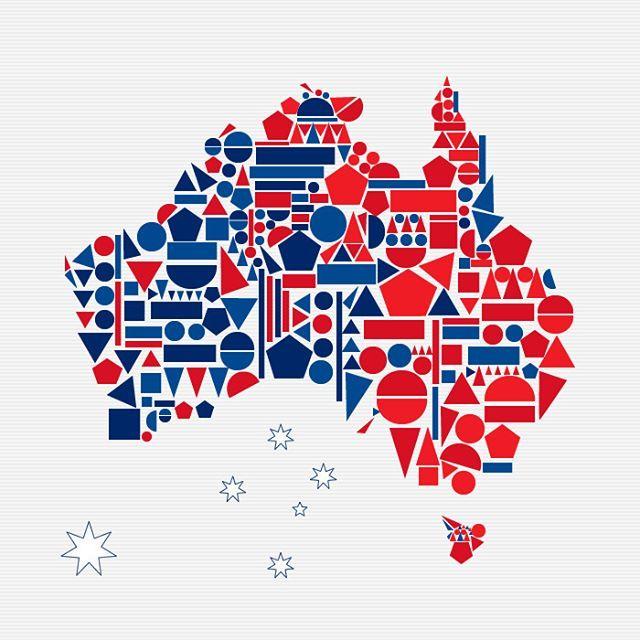 En honor al día de #Australia. Y a un #evento que la #universidad #UDI de #Bucaramanga realizaría a este como país como nación invitada. He trabajado esta #ilustración basada en colores #rojo y #azul correspondientes de la bandera de Australia  con #figuras #geométricas que conforman el #croquis del país. #Diseño elaborado para la clase de #Preprensa #Digital 2017. By @LuigiTools #Triangulo #Círculo #Cuadrado #Rectangulo #Estrella #Polígono #Triangle #Circle #Square #Rectangle #Star #Polygon