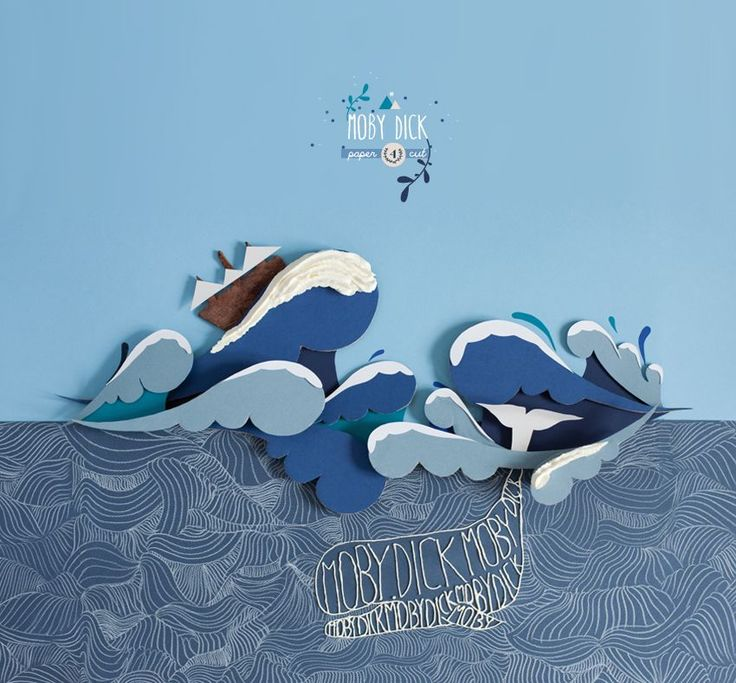 {papercut} Moby Dick - Tales & Stories with papercut and food ( working with pointropnenfaut )