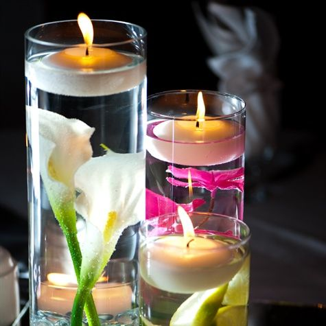 Best Floating Candle Centerpieces Images On Pinterest - Beautiful flowers candles centerpieces romanticize table decoratio