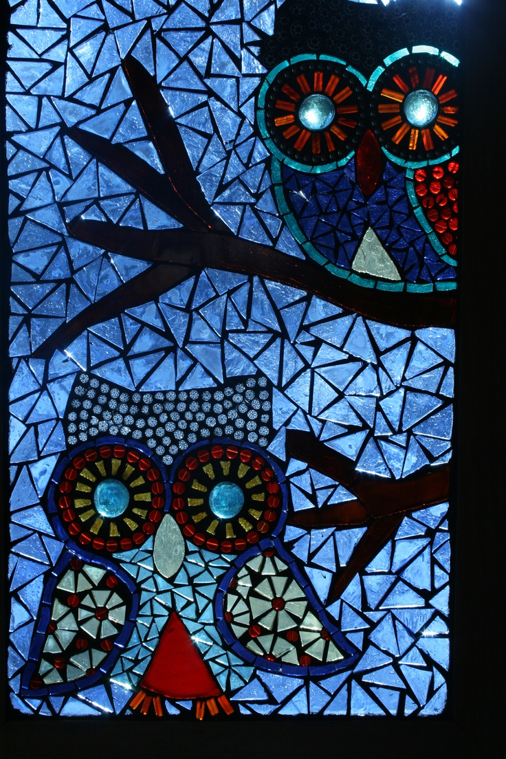"""Two Owls"" Glass on glass mosaic panel"