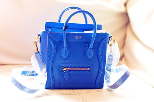 Mini royal blue Celine bag