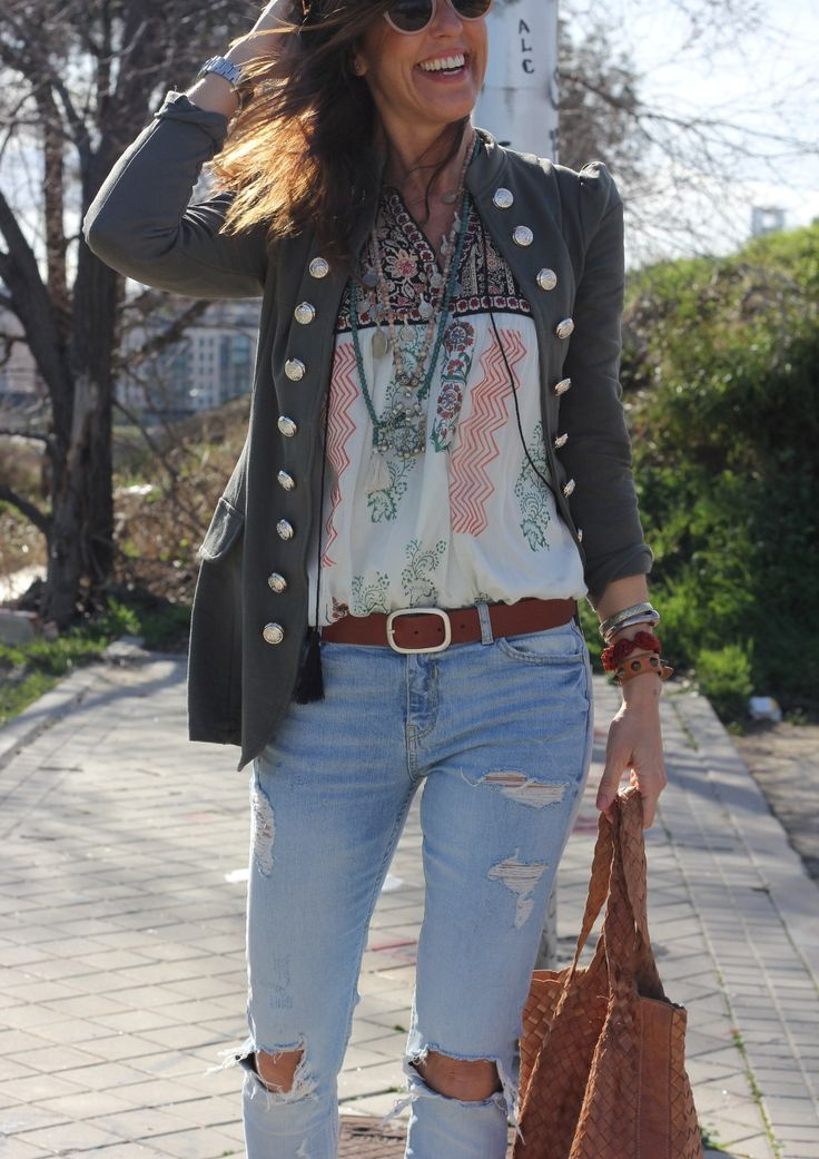 Jeans boho chic style                                                       … …
